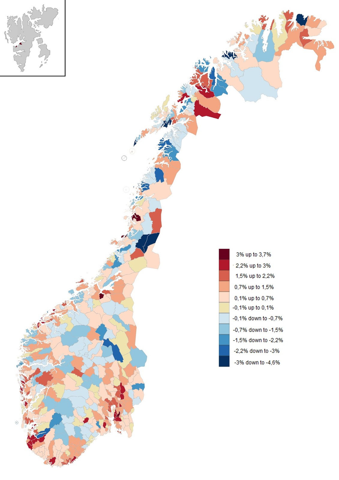 Population changes in Norwegian muncipalities