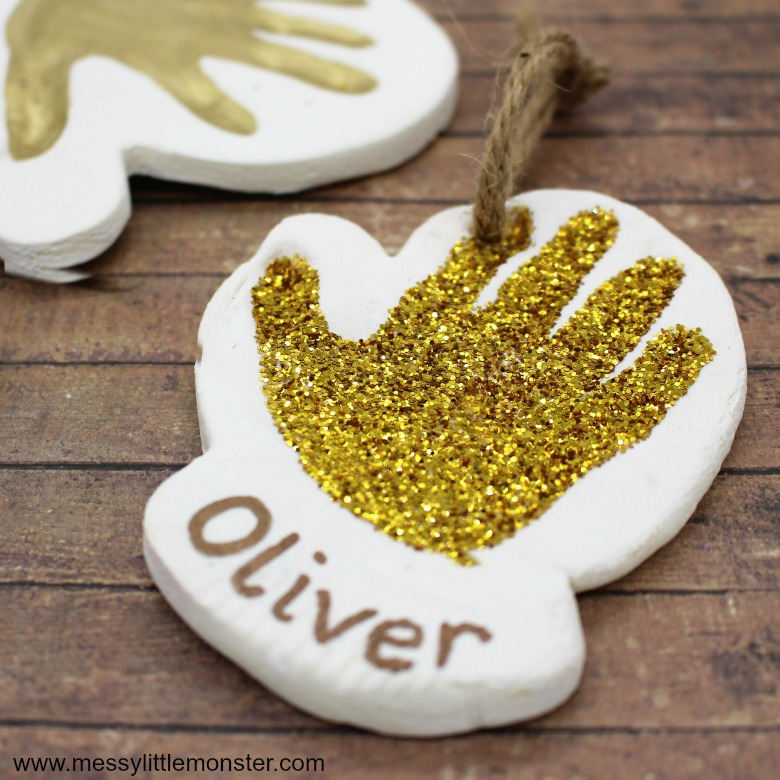 Baby keepsakes. Clay baby handprint ornament.