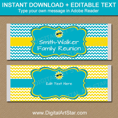 printable family reunion candy bar wrappers party favors
