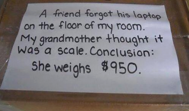 Funny Grandmother Laptop Scale Fail Joke picture
