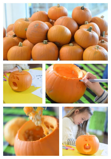 child carving pumpkin