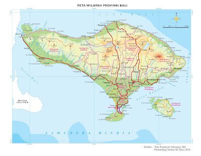 Peta Administrasi Provinsi Bali tahun 2016