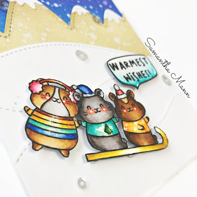 Warnest Wises from Winter Hamsters by Samantha Mann, Waffle Flower Crafts, Get Cracking on Christmas, Distress Inks, Ink Blending, Christmas, Cards, Handmade Cards, #christmas #cards #waffleflowercrafts #waffleflower #lawnfawn #getcrackingonchristmas