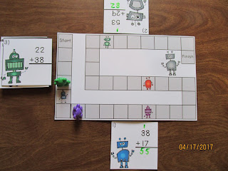 Robots 2 Digit Addition Regrouping Task Cards