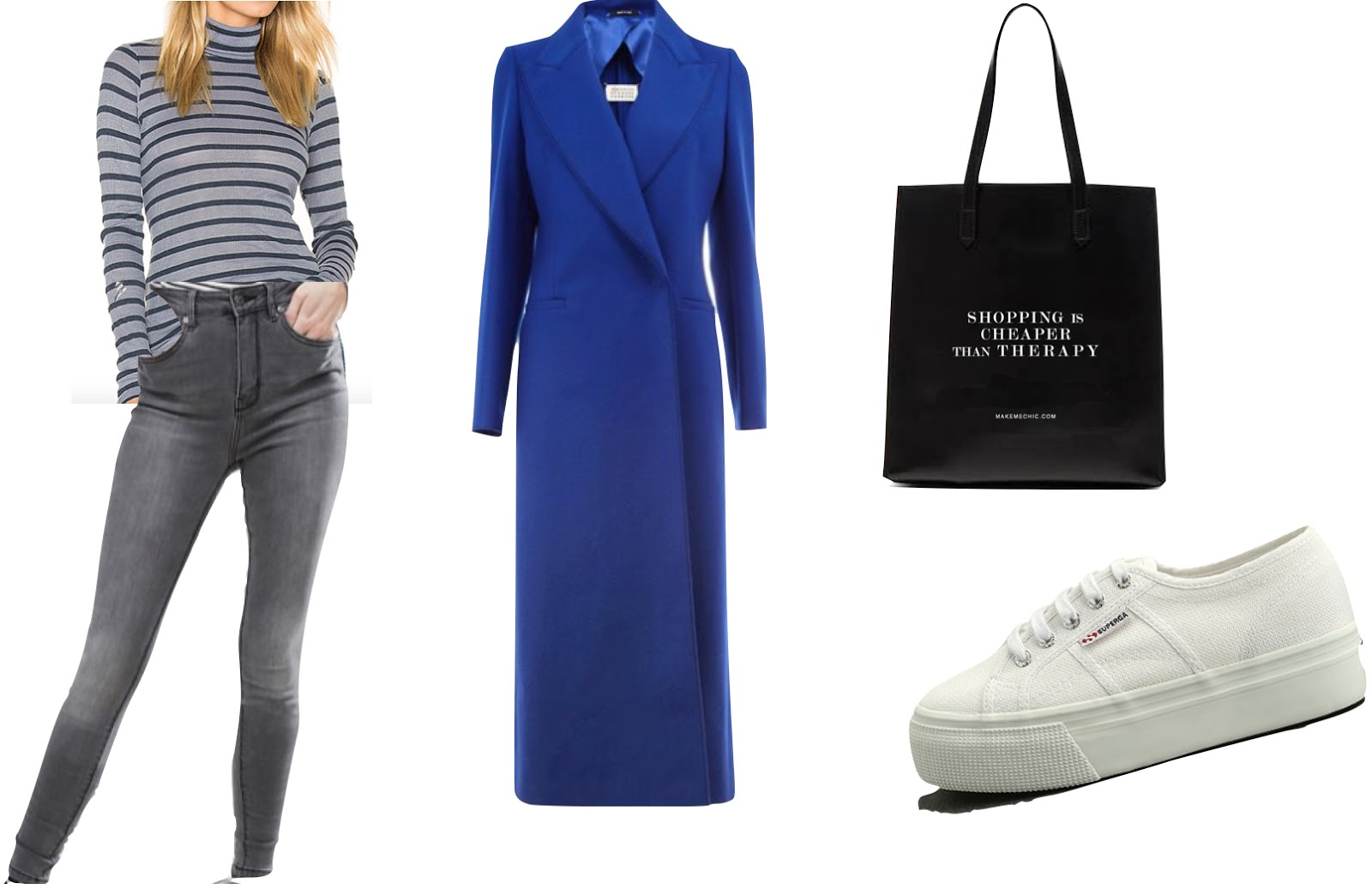 Blue coat and white sneakers outfit