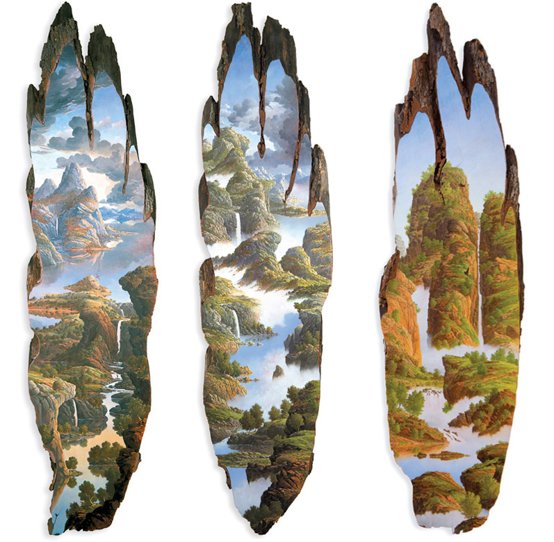 12-Tall-Sassafras-Slice-Alison-Moritsugu-Landscape-Painting-on-Tree-Logs-www-designstack-co