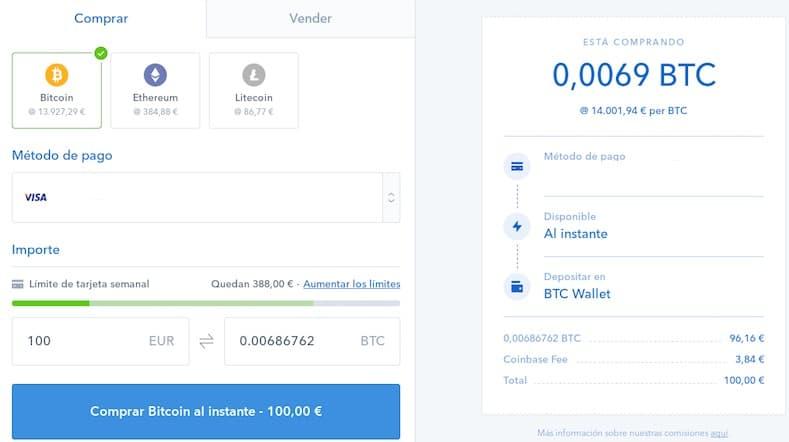 comprar BTC o ETH en Coinbase exchange