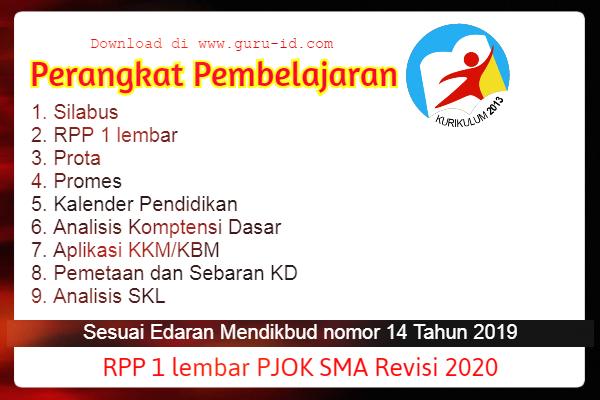 GAMBAR RPP PJOK SMA/SMK 1 LEMBAR