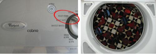 Photo of quilt in wash machine