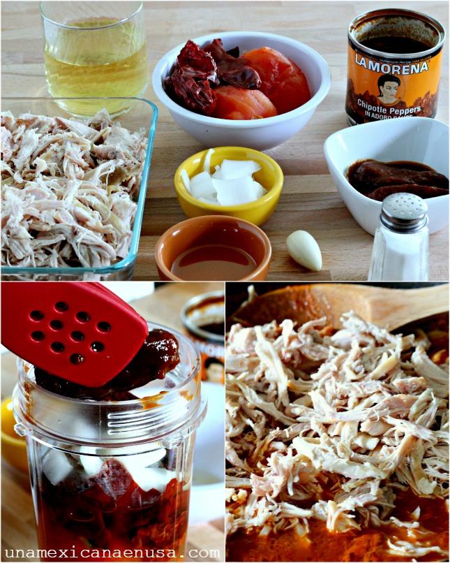 Pollo con salsa de chiles para tamales by www.unamexicanaenusa.com