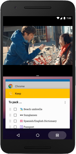 Multi-window mode in Android Nougat