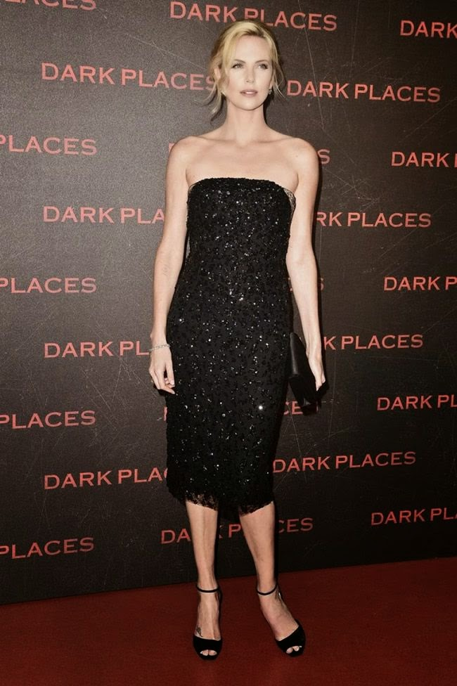 Charlize Theron Sparkles in Strapless Black Dress at Premiere of Dark Places