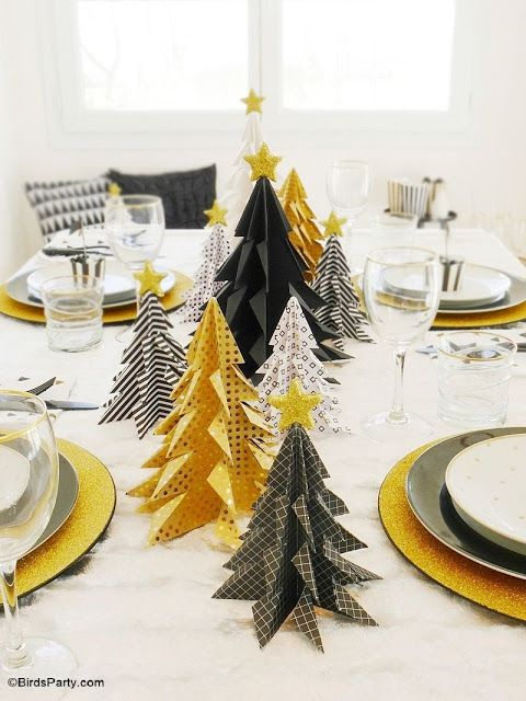Black and Gold Christmas Party Tablescape