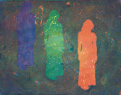 print of multiple abstract figures using gelatin monoprinting technique with acrylic paint