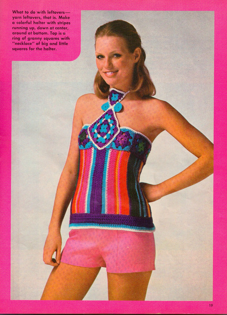 The Vintage Pattern Files: Free 1970's Crochet Pattern - A Colourful Halter
