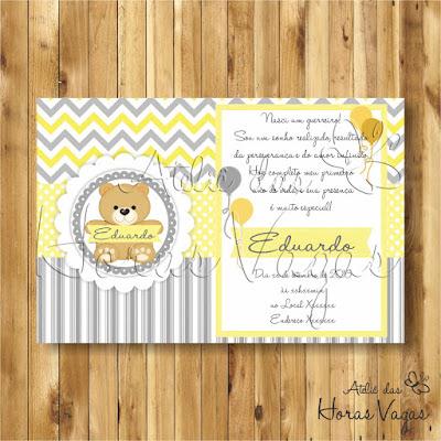 convite digital aniversário infantil personalizado artesanal ursinho amarelo cinza branco chevron poá listras festa 1 aninho chá de bebê fraldas menino