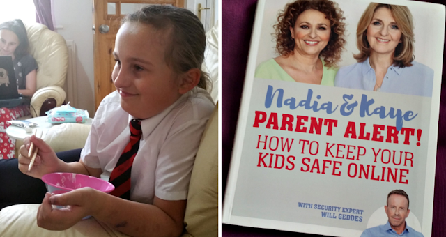 My youngest daughter eating chicken and mayonaise with chopsticks and a photo of the front cover of a book