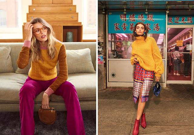 Яркий желтый свитер с розовыми брюками и юбкой в клетку