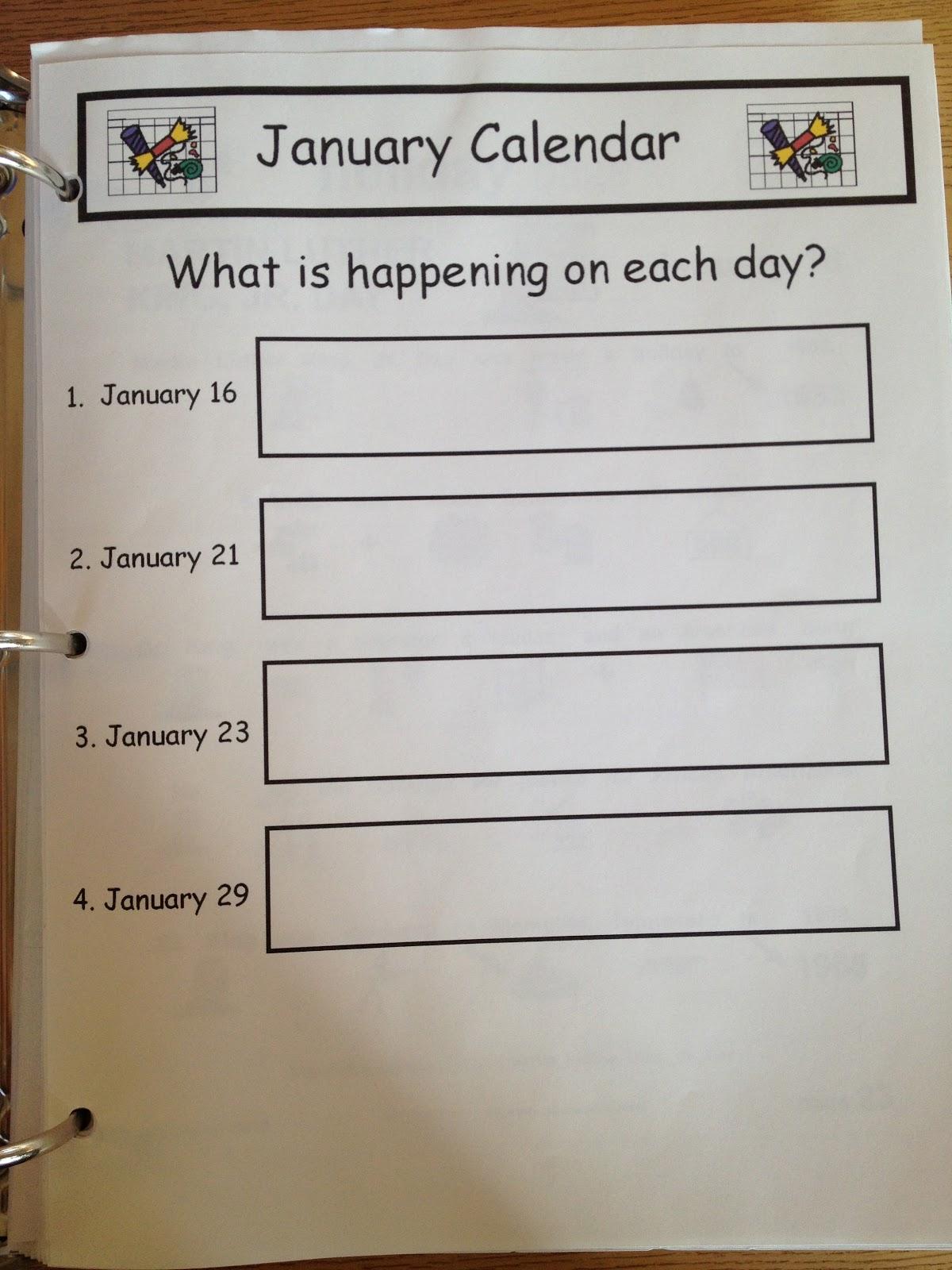 Autism Tank Calendar Worksheets