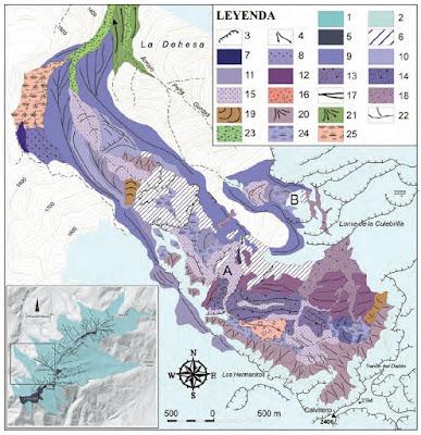 Mapa geológico glaciar Cuerpo de Hombre
