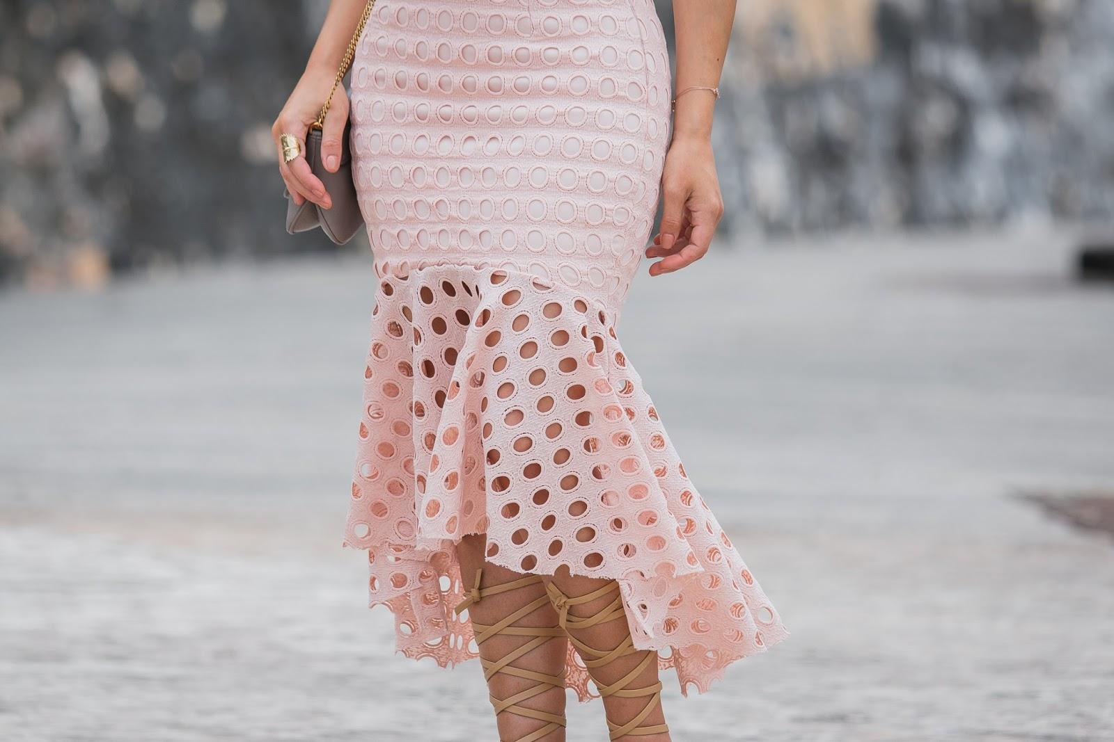 blush trumpet eyelet skirt
