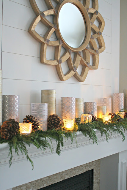 Dollar store candles with paper decor