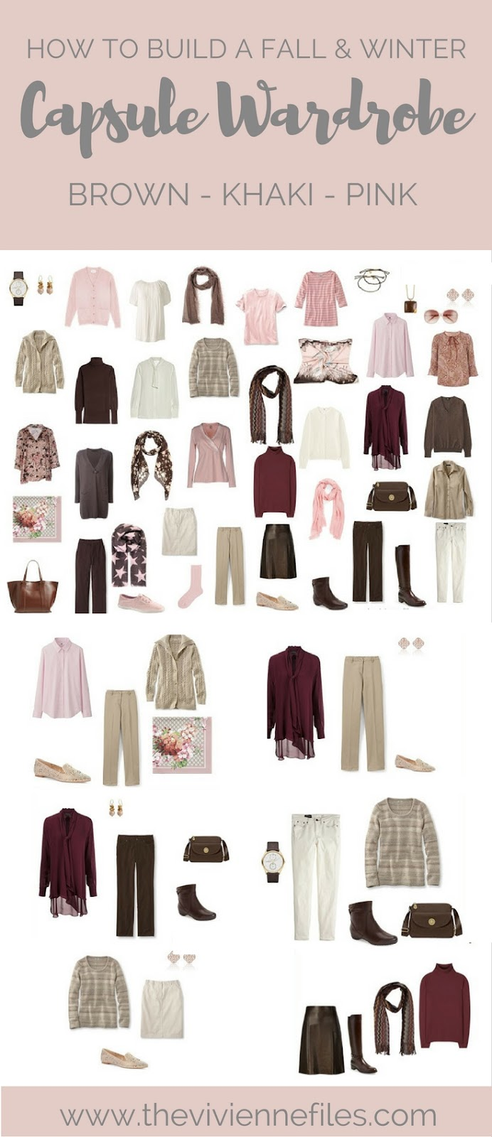 How To Build A Capsule Wardrobe In Brown, Khaki And Pink