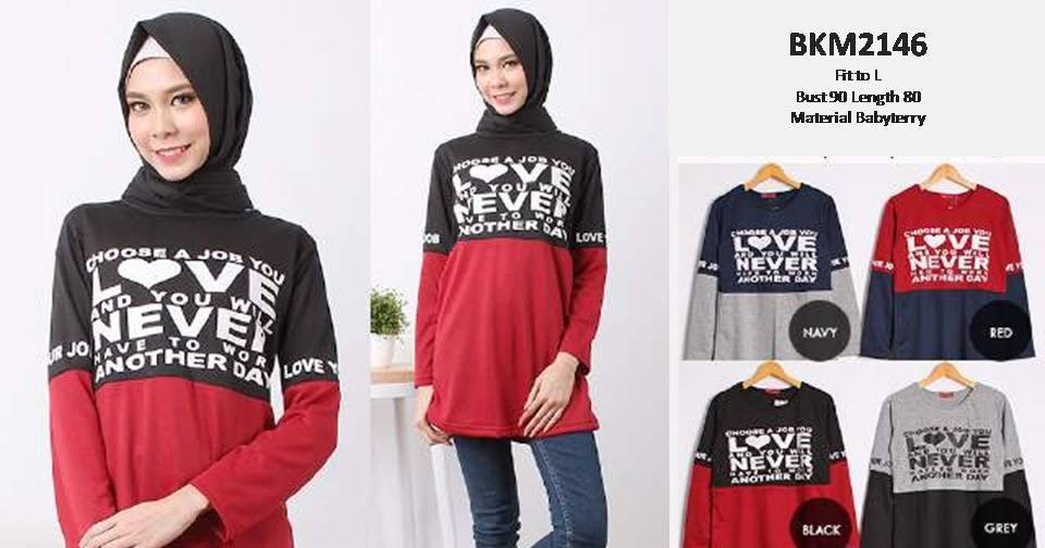 Atasan Kaos Dua Warna Bkm2146 Grosir Baju Muslim Murah