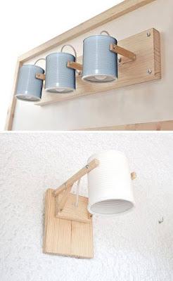 lamparas hechas con madera y latas recicladas