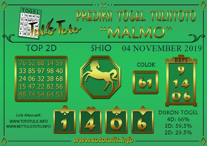 Prediksi Togel MALMO TULISTOTO 04 NOVEMBER 2019