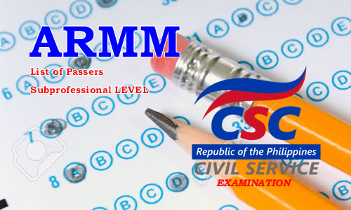 List of Passers ARMM August 2017 CSE-PPT Subprofessional Level