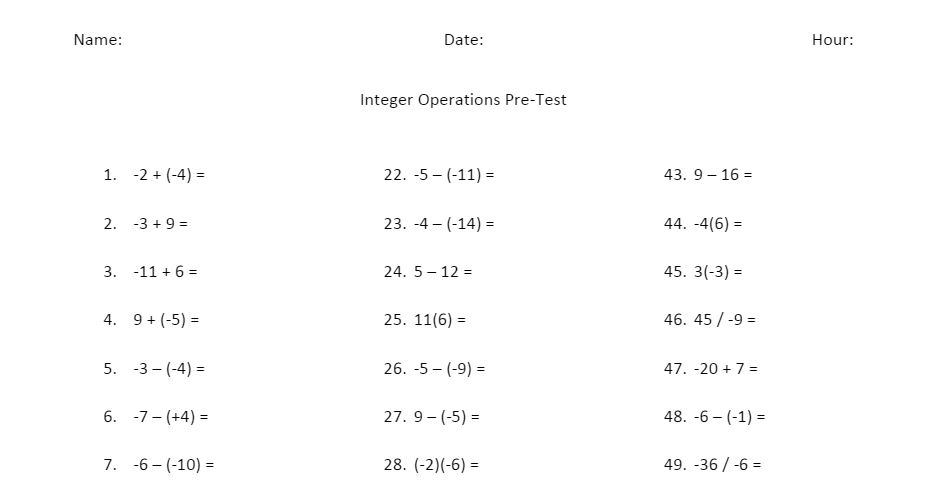 Math Love Remediating Integer Operations – Operations with Integers Worksheet