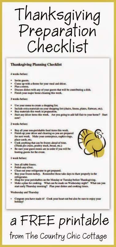 Thanksgiving Preparation Checklist -- a free printable to get you organized for the upcoming holiday.  Start 4 weeks before the holiday preparing for the big day!