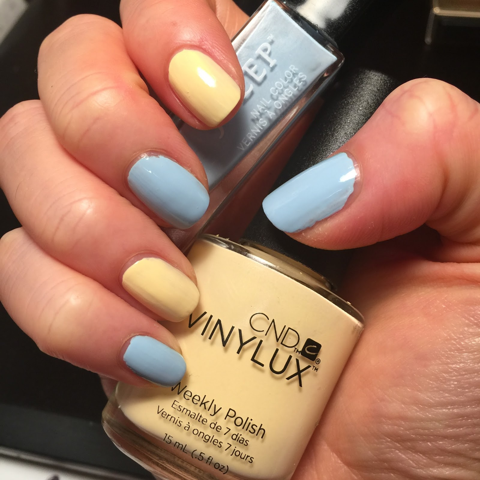 For The Base I Chose A Baby Blue And Yellow Polish You Can Pick Any Pastel Colors Of Your Choice