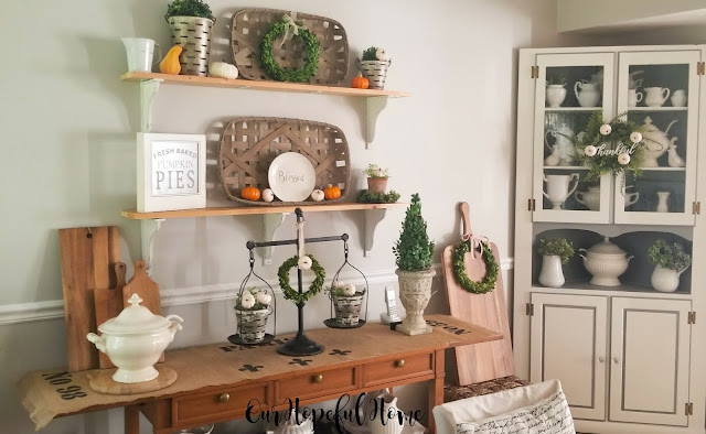 farmhouse shelves fall decor tobacco basket pumpkins boxwood wreaths buffet vintage scale corbels ironstone
