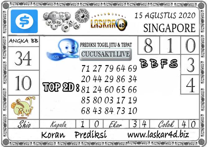 Prediksi Togel SINGAPORE LASKAR4D 15 AGUSTUS 2020