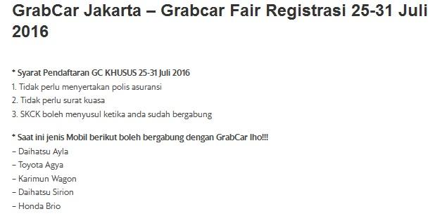 lowongan grabcar juli 2016, pendaftaran grabcar juli 2016, cara daftar driver grabcar, cara daftar grabcar