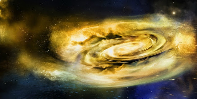 Illustration of strong winds disrupting the outer disc of material surrounding a stellar-mass black hole (Image: NASA/Swift/A. Simonnet, Sonoma State University)