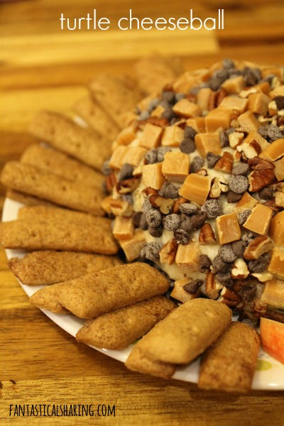 Turtle Cheeseball #recipe #appetizer #dessert #turtle #chocolate #caramel #pecans #apples