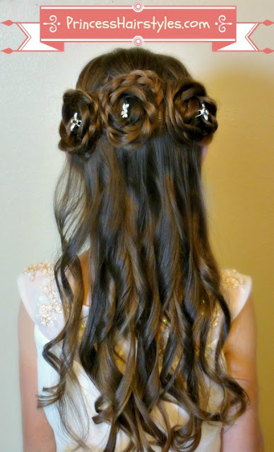 triple rosette buns flower hair hairstyle