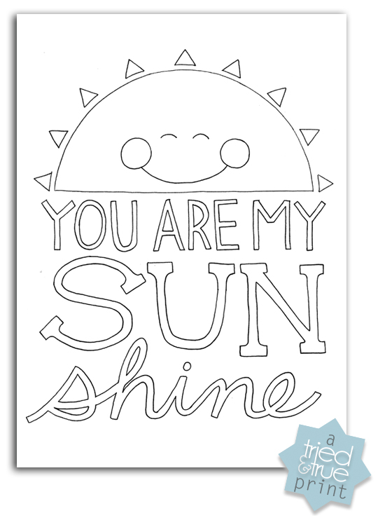 Coloring Page World: You Are My Sunshine (Portraits)