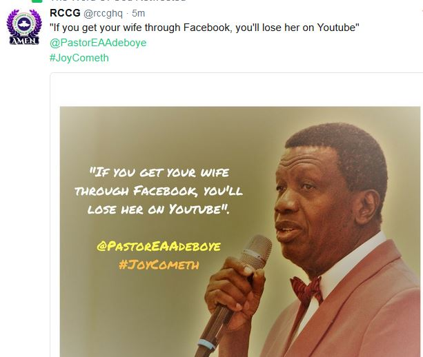 "VIDEO: ""If You Marry Wife Through Facebook, You Will Lose Her On Youtube""- Pastor Adeboye"