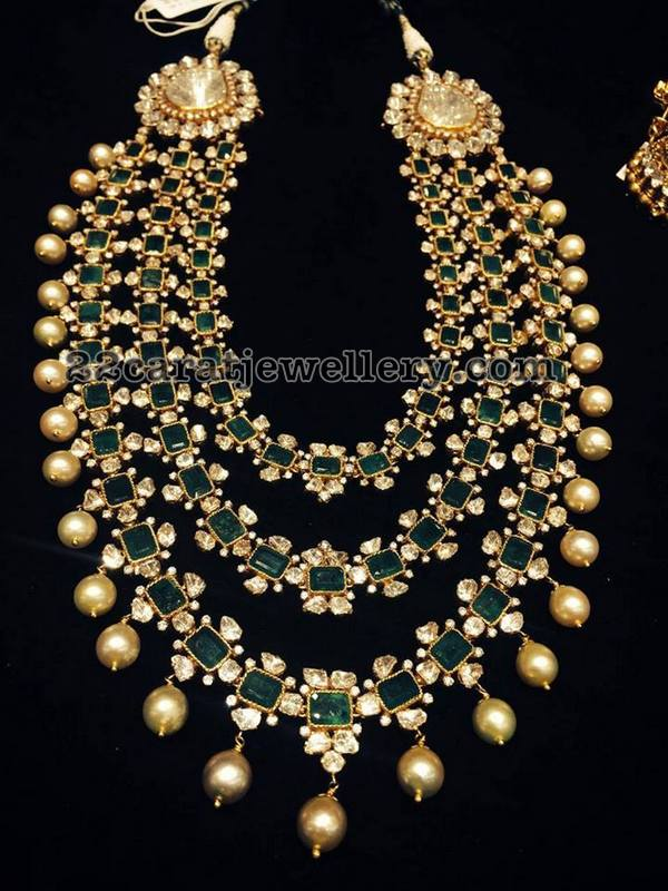 3 Layer Radiant Emerald Haram Jewellery Designs