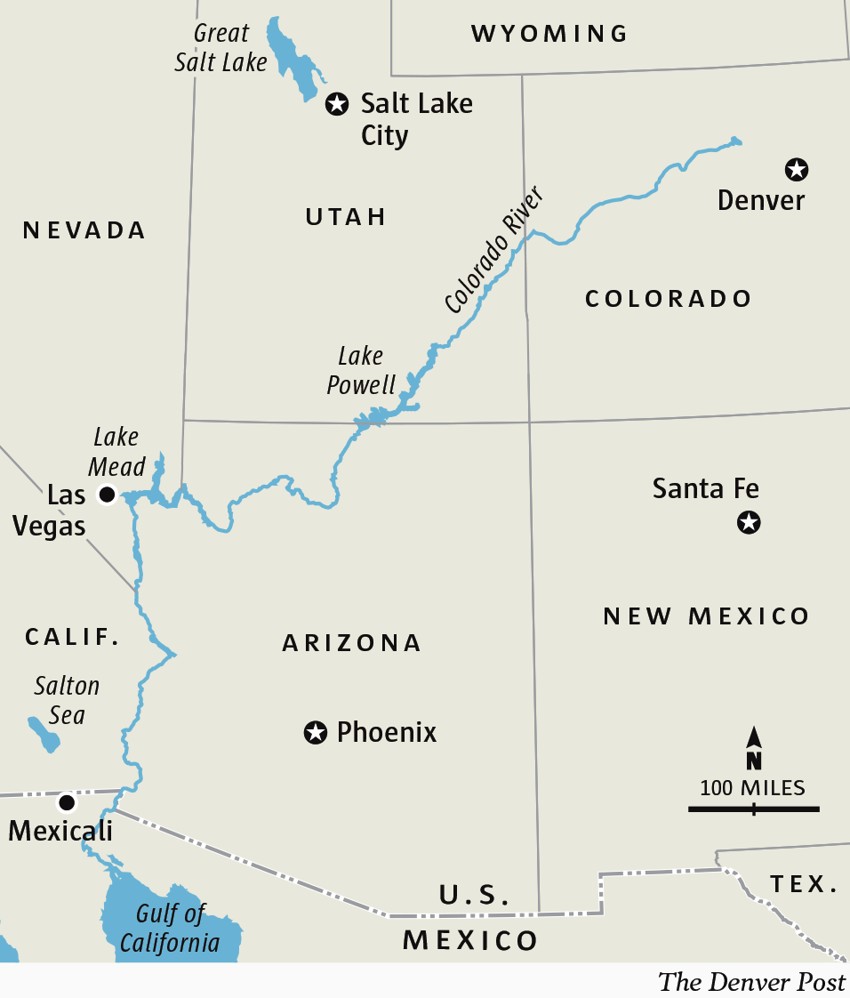 the guzzler as colorado river basin reservoirs drop to near record low levels possibility of unprecedented water shortage declaration rises