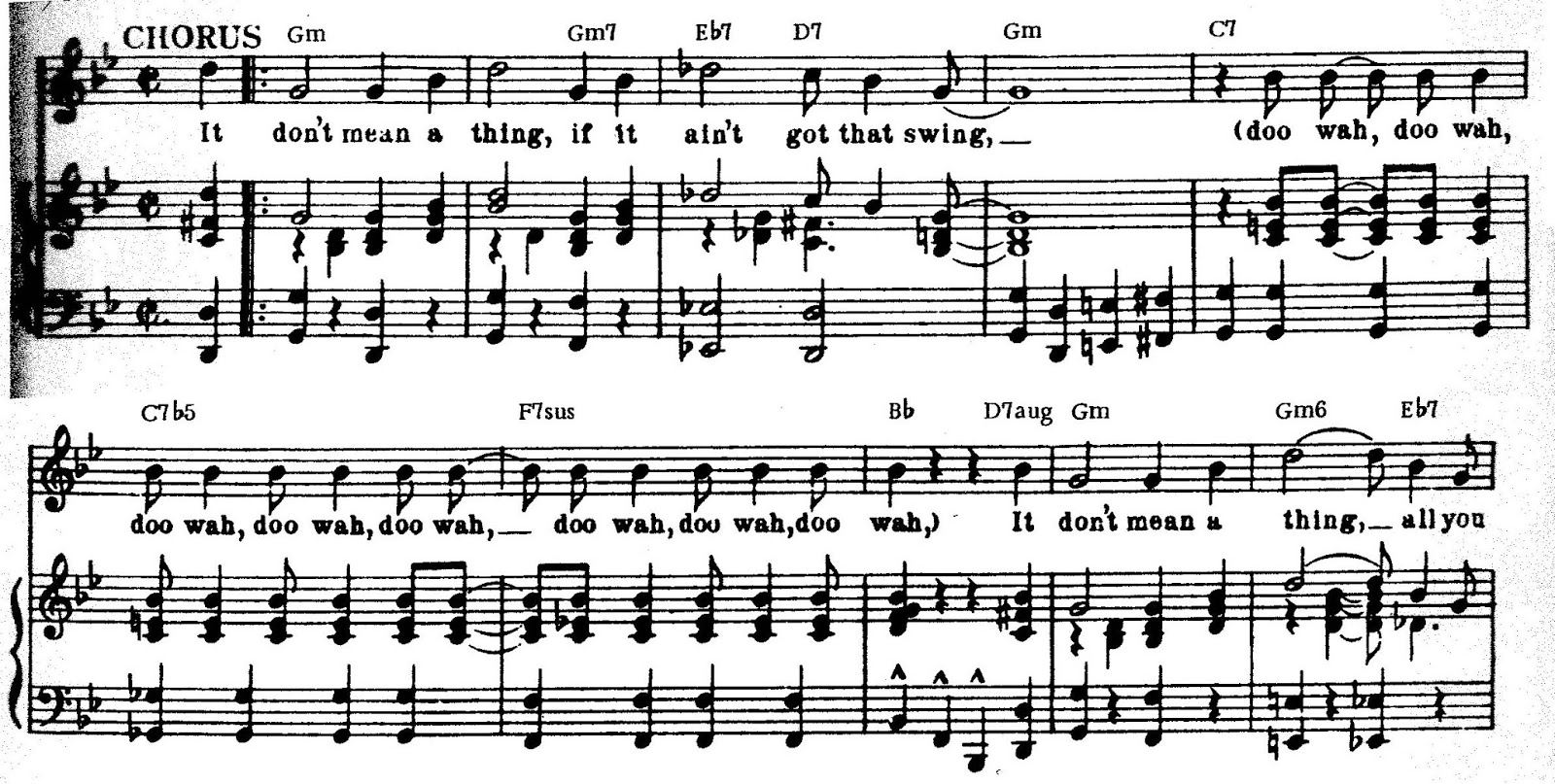 Peter spitzer music blog it dont mean a thing the chord changes as is often the case the guitar symbols do not accurately represent the harmony in the piano arrangement for example the gm7 symbol in measure 2 is there biocorpaavc Image collections