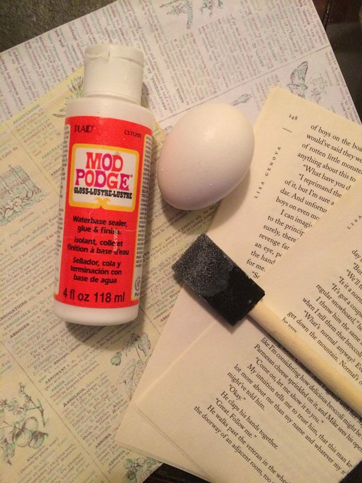 How to make decorate real eggs eggshells modpodge book pages recycled