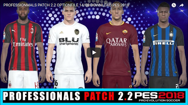 Option File PES 2018 untuk PES Professionals V2.2 update 14/8/2018
