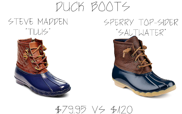 A save vs splurge comparison post featuring duck boots from Sperry Topsider and Steven Madden.