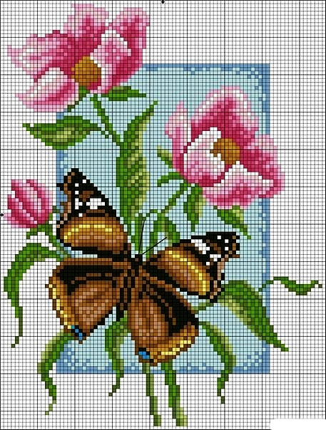 Schemi farfalle e fiori a punto scroce schemiapuntocroce for Farfalle punto croce schemi gratis