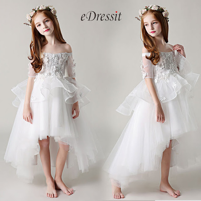 Princess Off Shoulder Children Wedding Flower Girl Dress